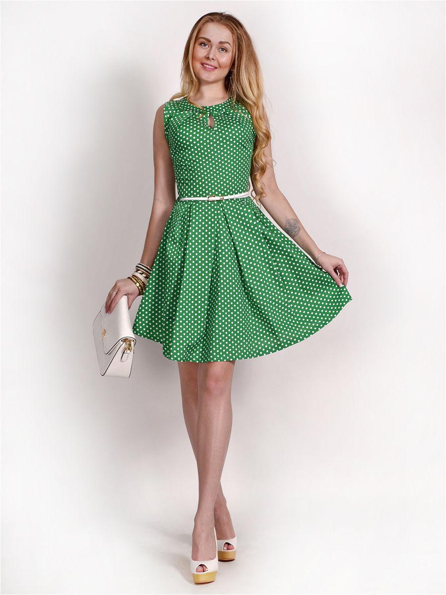 Белое платье в зеленый горошек фото