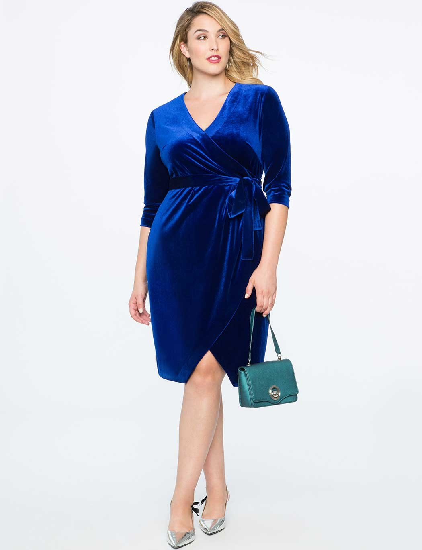 синее платье для полных фото