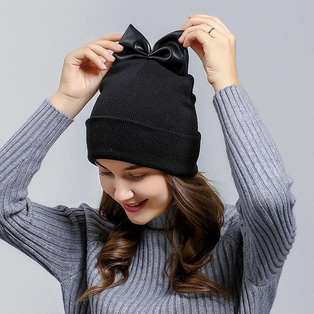 шапка бини с бантом фото