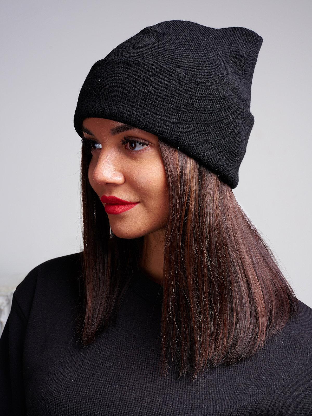 шапка бини черная фото