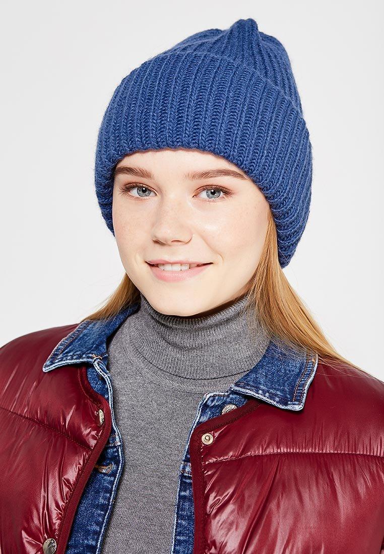 шапка бини синяя фото