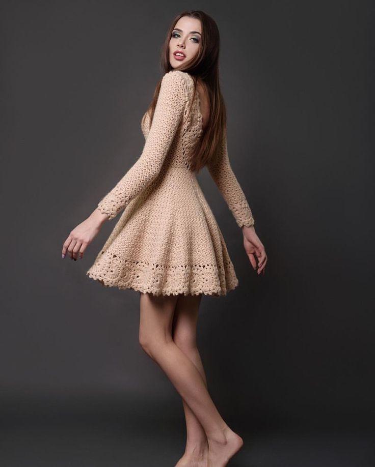 пышное платье вязаное фото