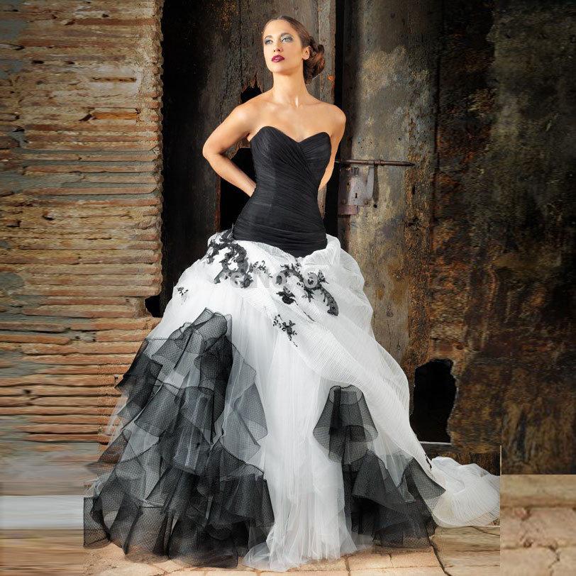 пышное платье черно белое фото