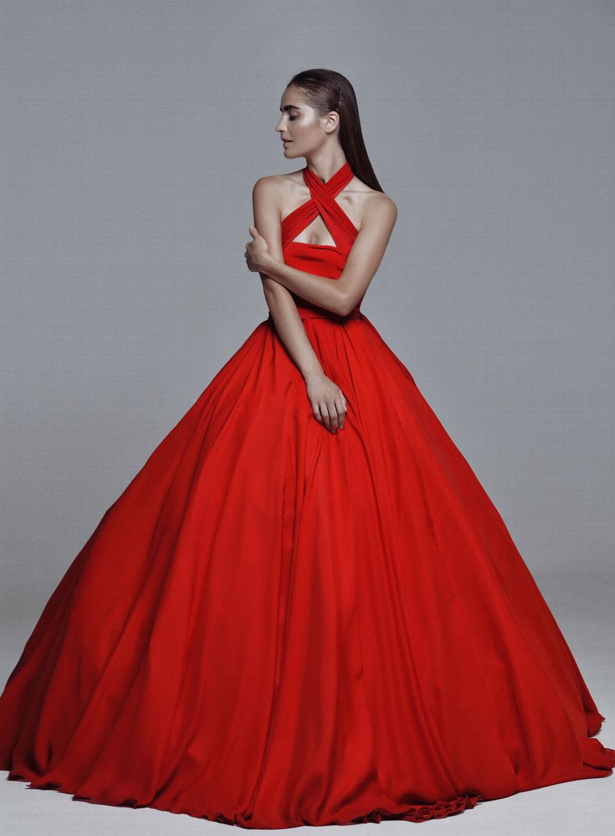 пышное платье красное фото