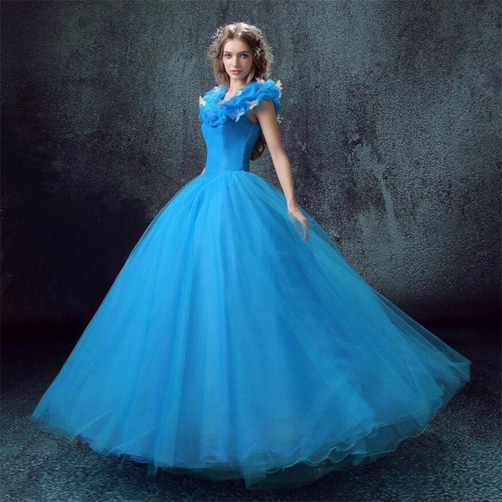 пышное платье голубое фото