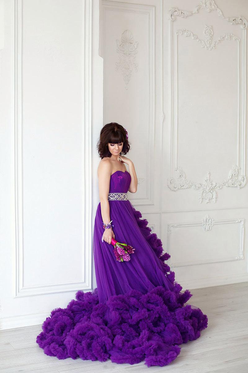 пышное платье фиолетовое фото