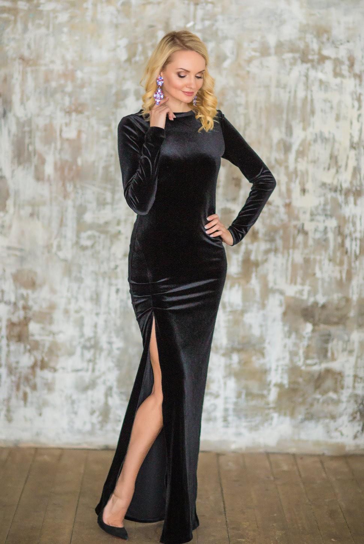 бархатное платье длинное