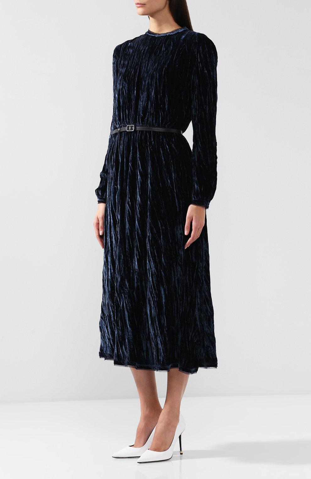 бархатное платье миди