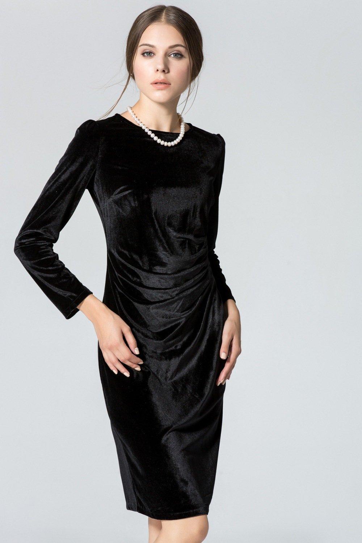 бархатное платье черное
