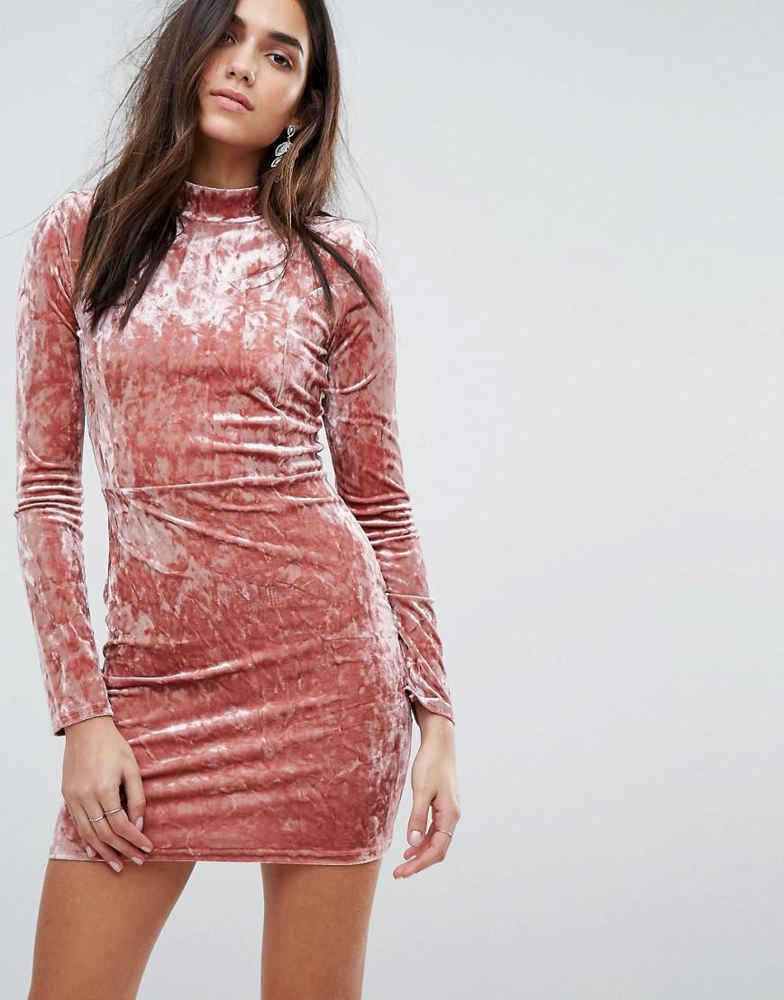 бархатное платье розовое