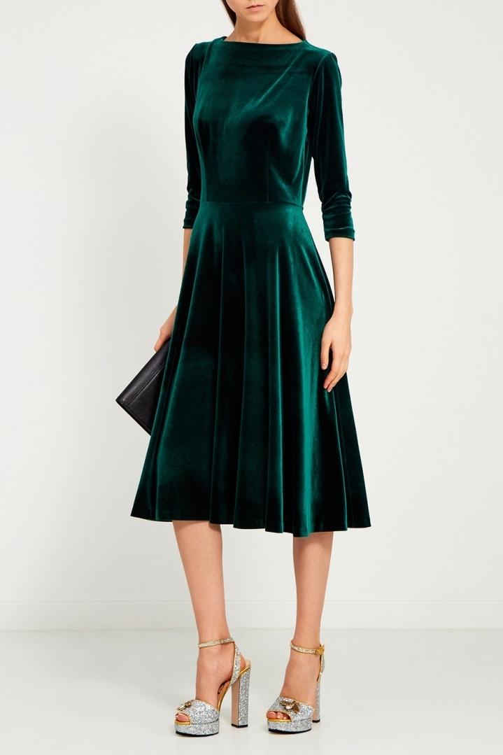 бархатное платье зеленое