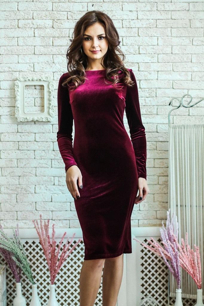 бархатное платье бордовое