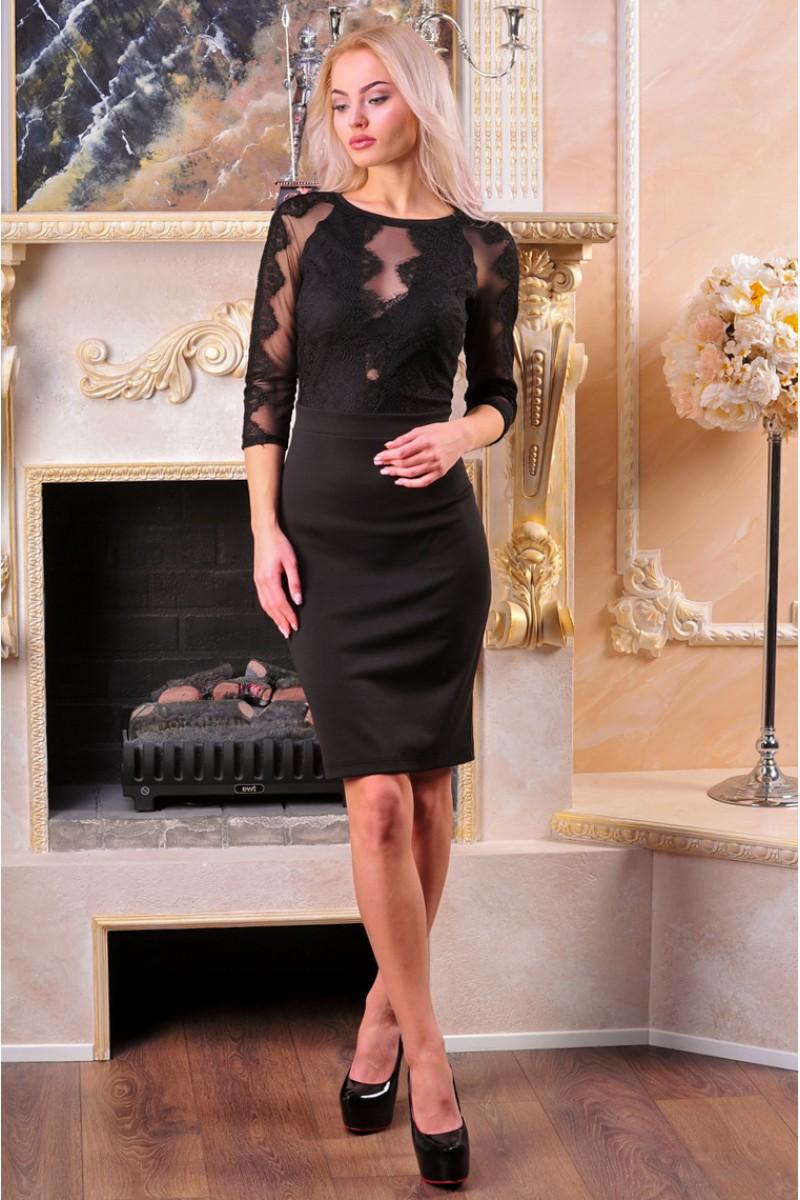 платье со вставками из гипюра