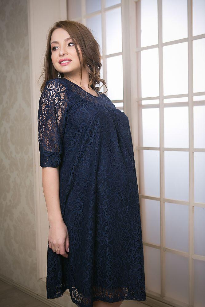 платье из гипюра для беременных синее