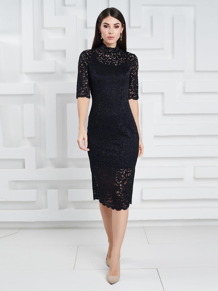 платье из гипюра цвет черный