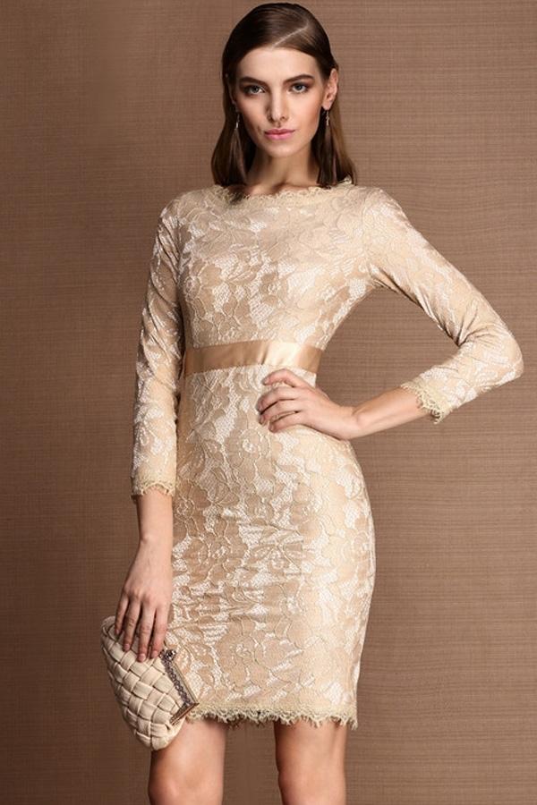 платье из гипюра цвет бежевый
