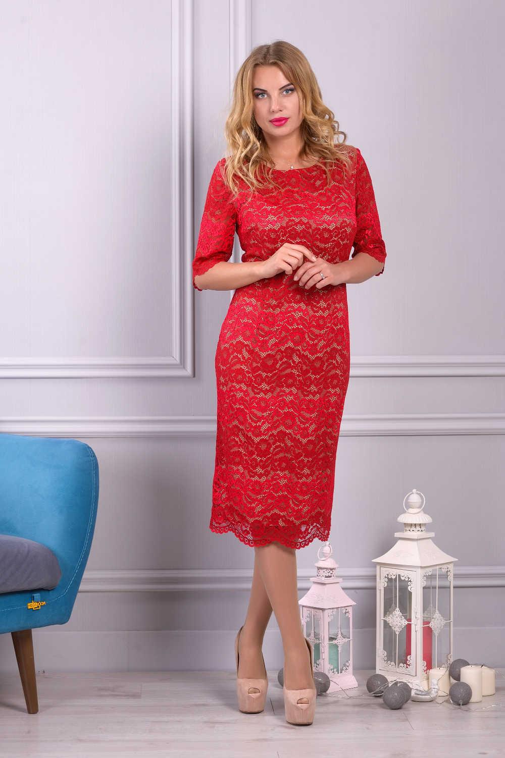платье из гипюра цвет красный