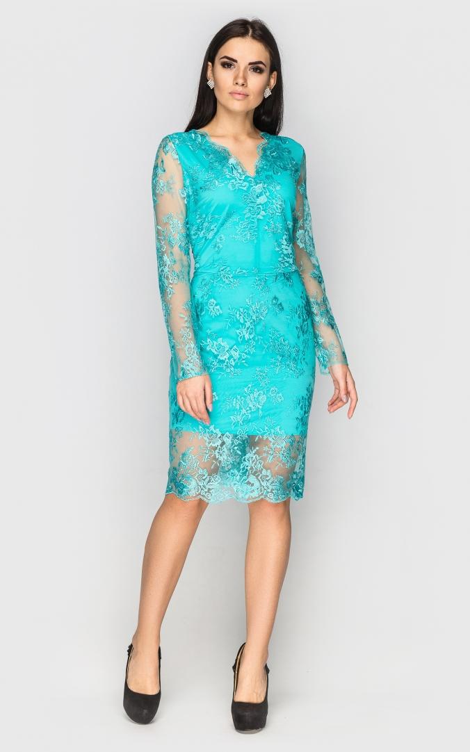 платье из гипюра цвет бирюзовый