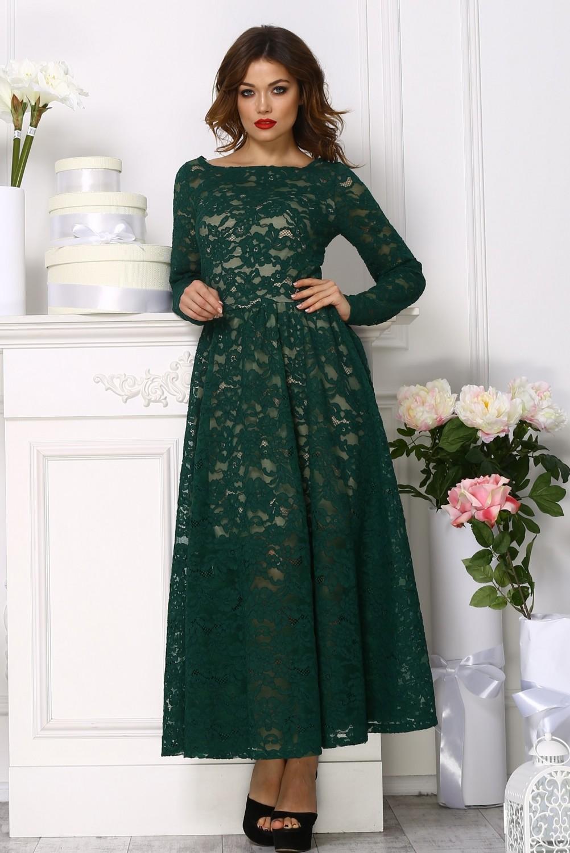 платье из гипюра цвет зеленый