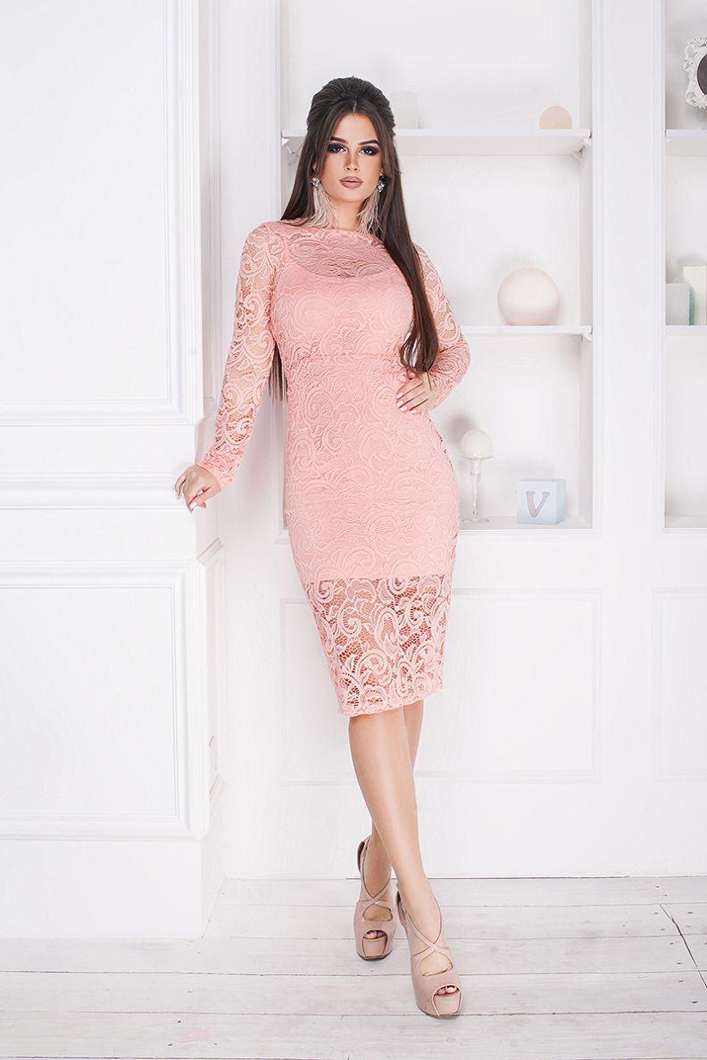 платье из гипюра цвет розовый
