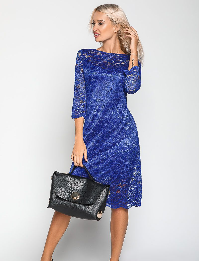 платье из гипюра цвет синий