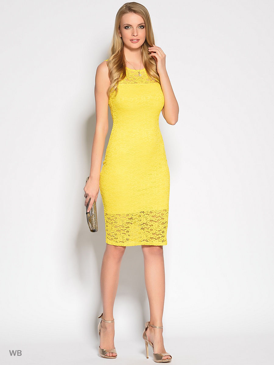 платье из гипюра цвет желтый