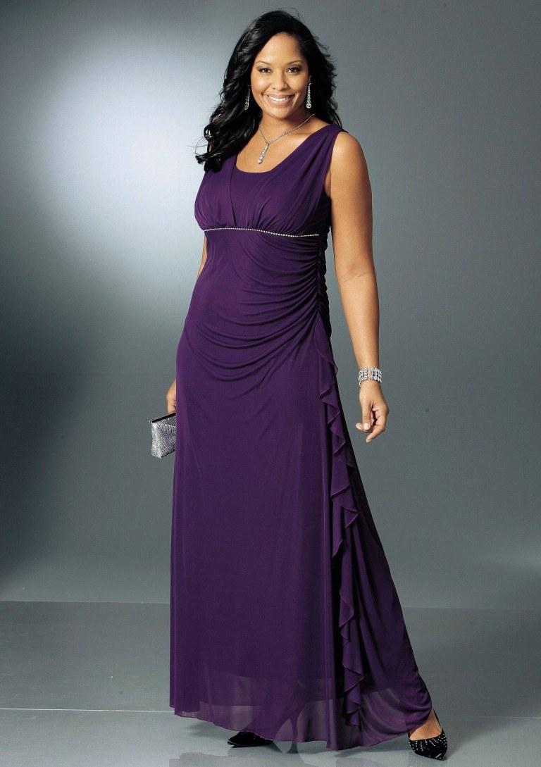 фиолетовое платье на полных