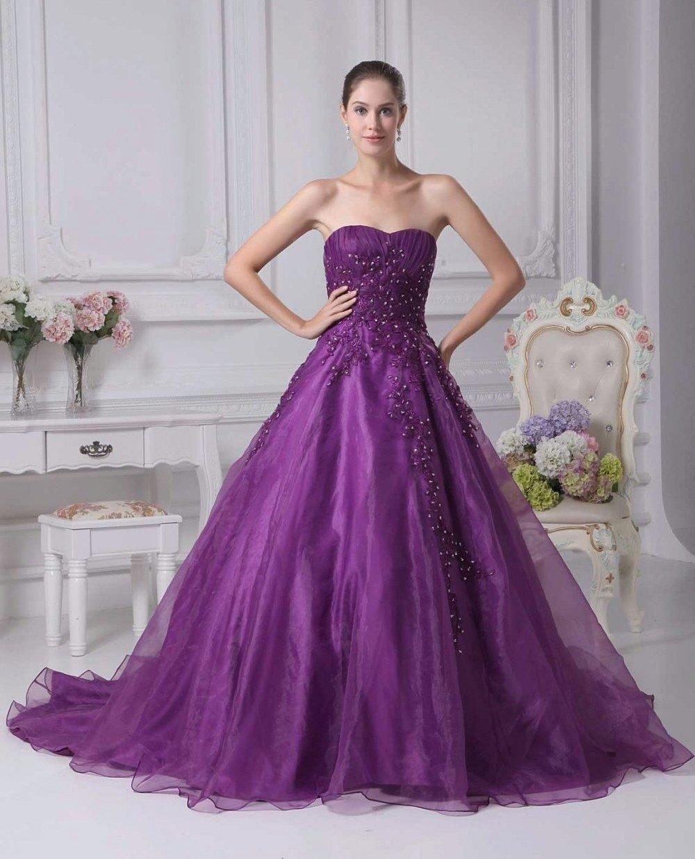 фиолетовое платье свадебное