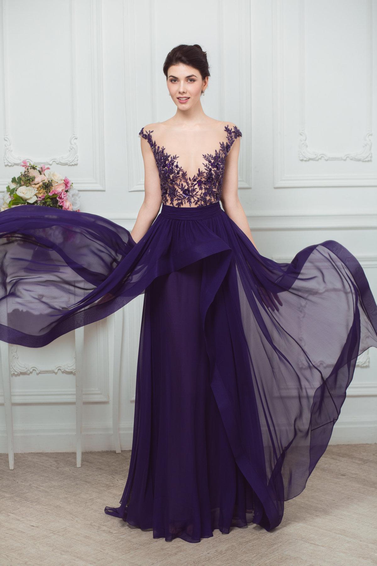 фиолетовое платье вечернее длинное