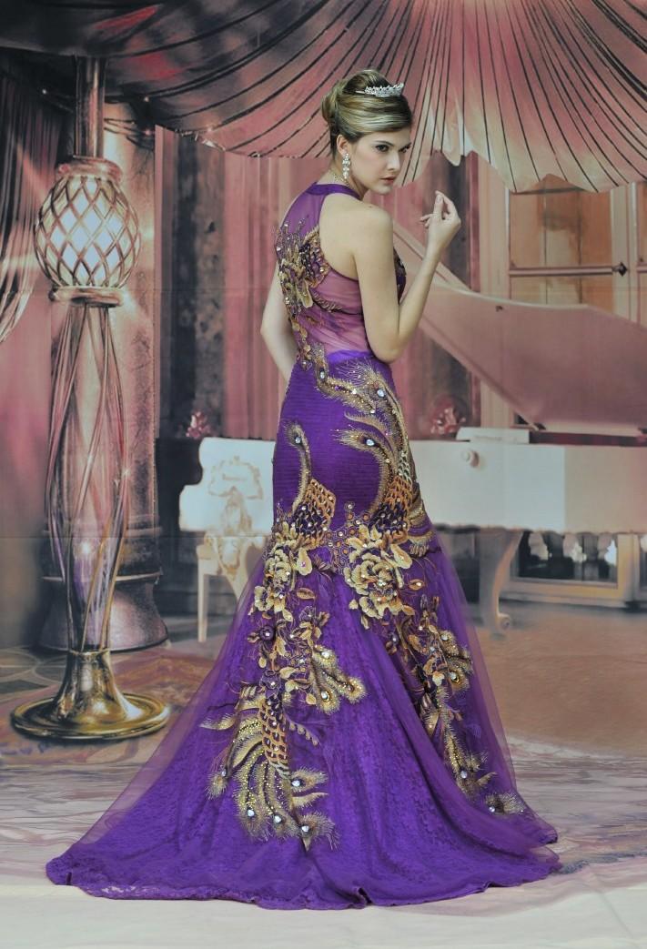 Фиолетово платье с золотом