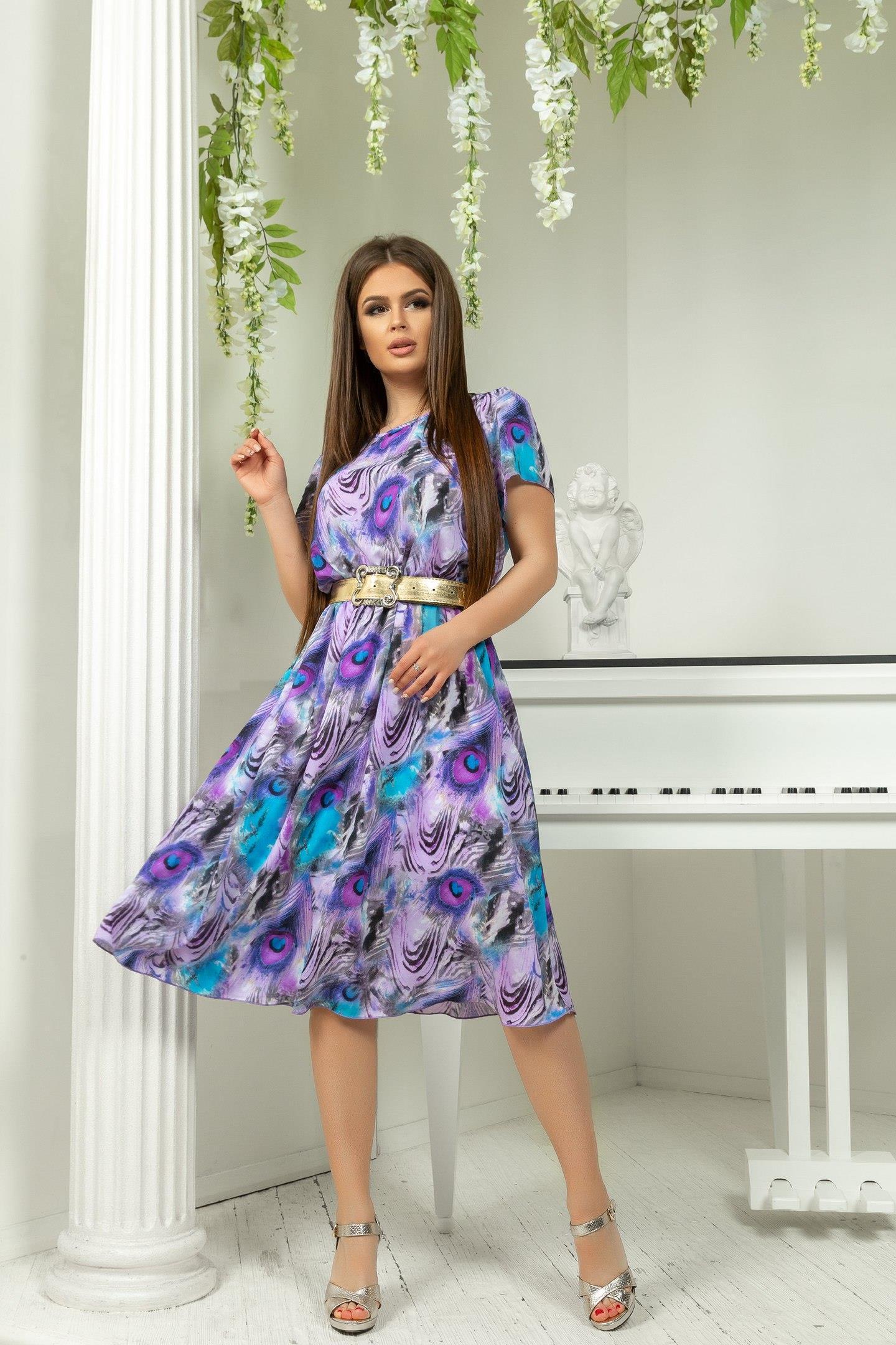 фиолетово голубое платье