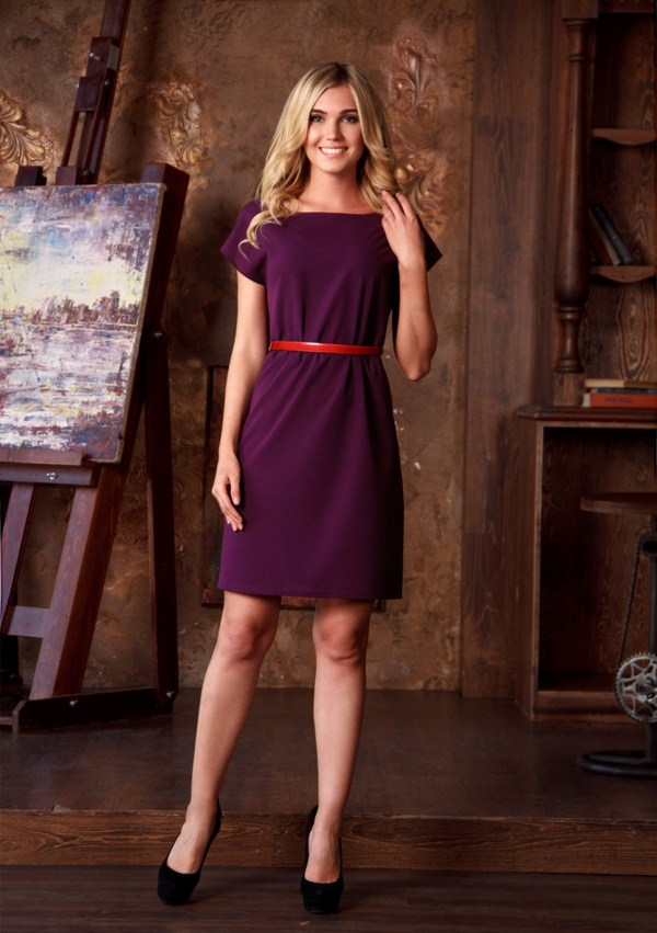 фиолетово красное платье