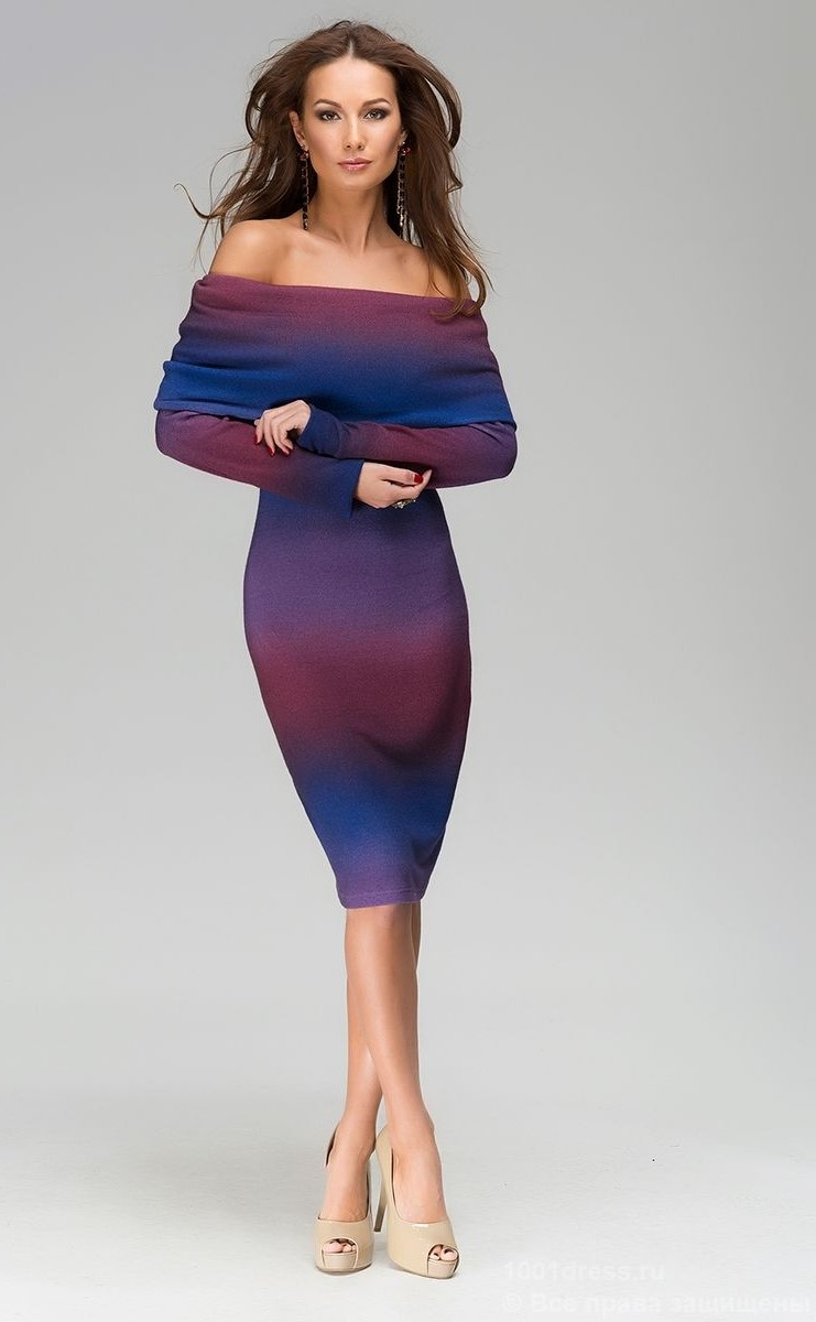 фиолетово синее платье