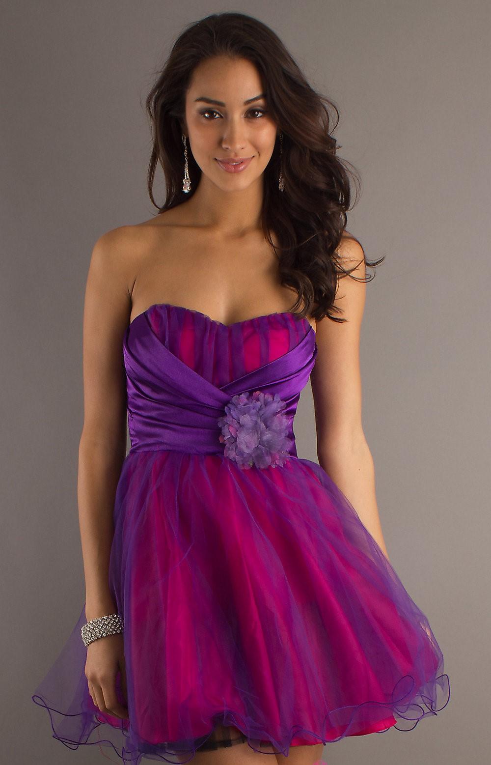 фиолетово розовое платье