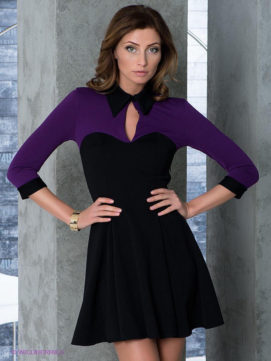 фиолетово черное платье