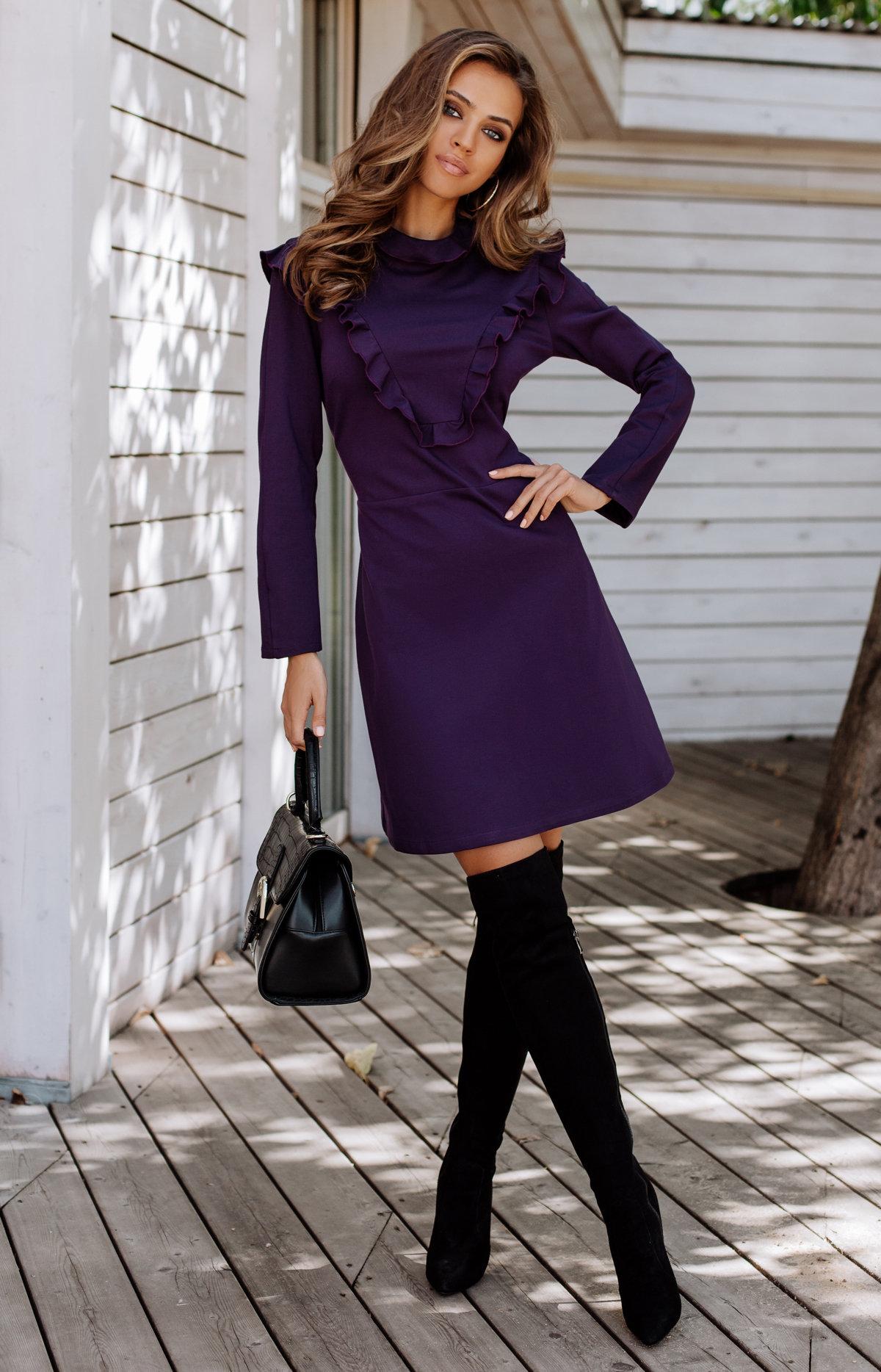 фиолетовое платье и сапоги