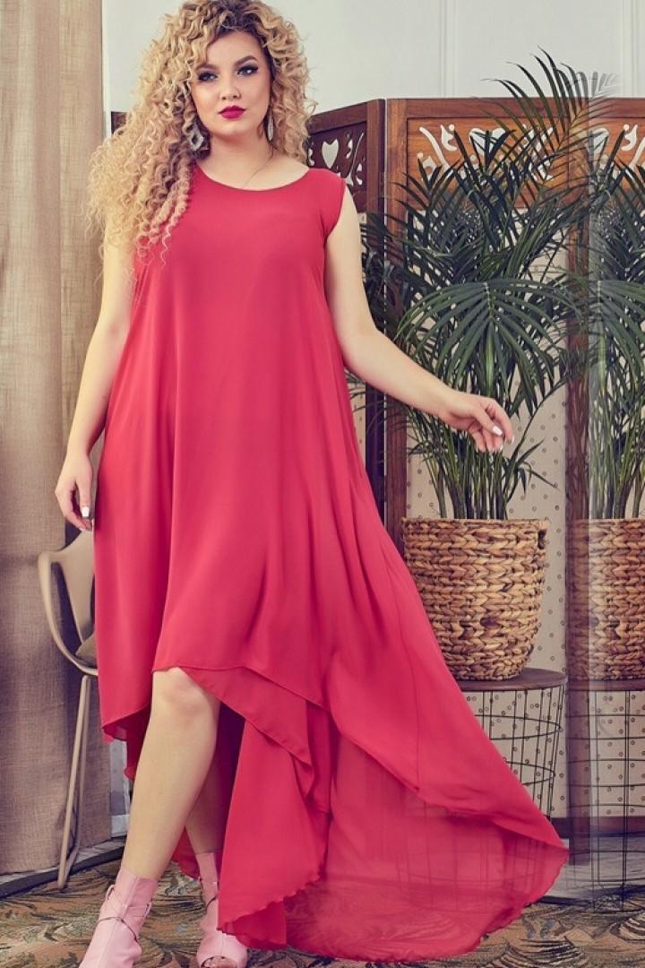 платье со шлейфом для полных красное