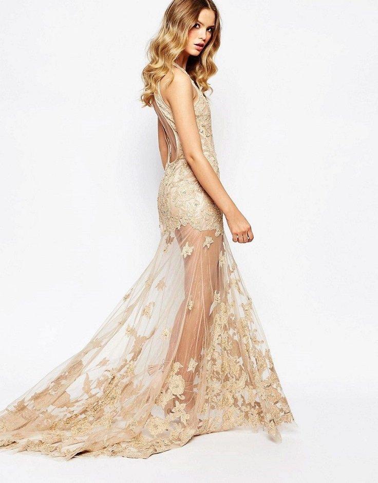 платье со шлейфом золотистое