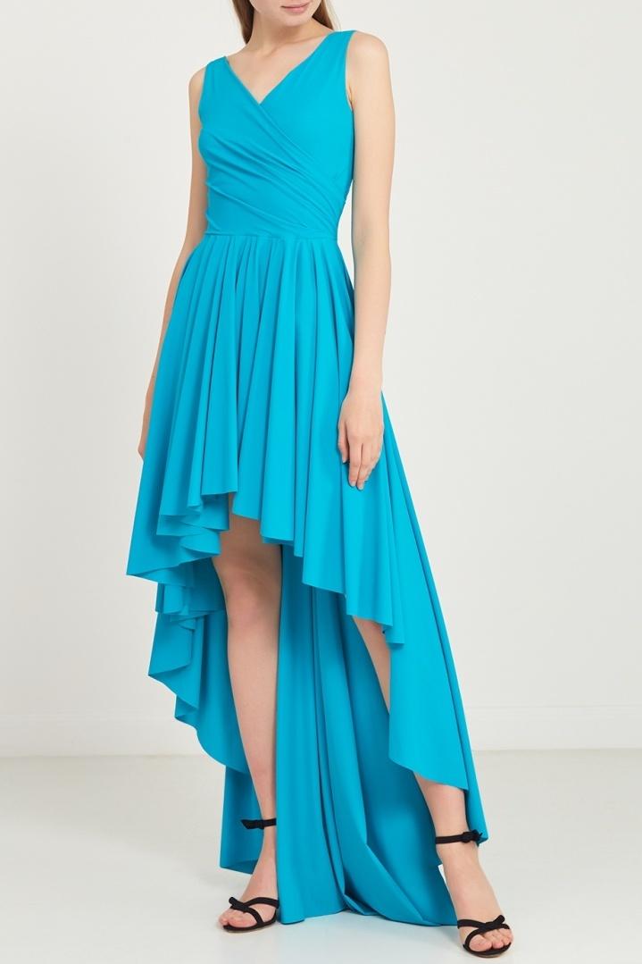 платье со шлейфом голубое