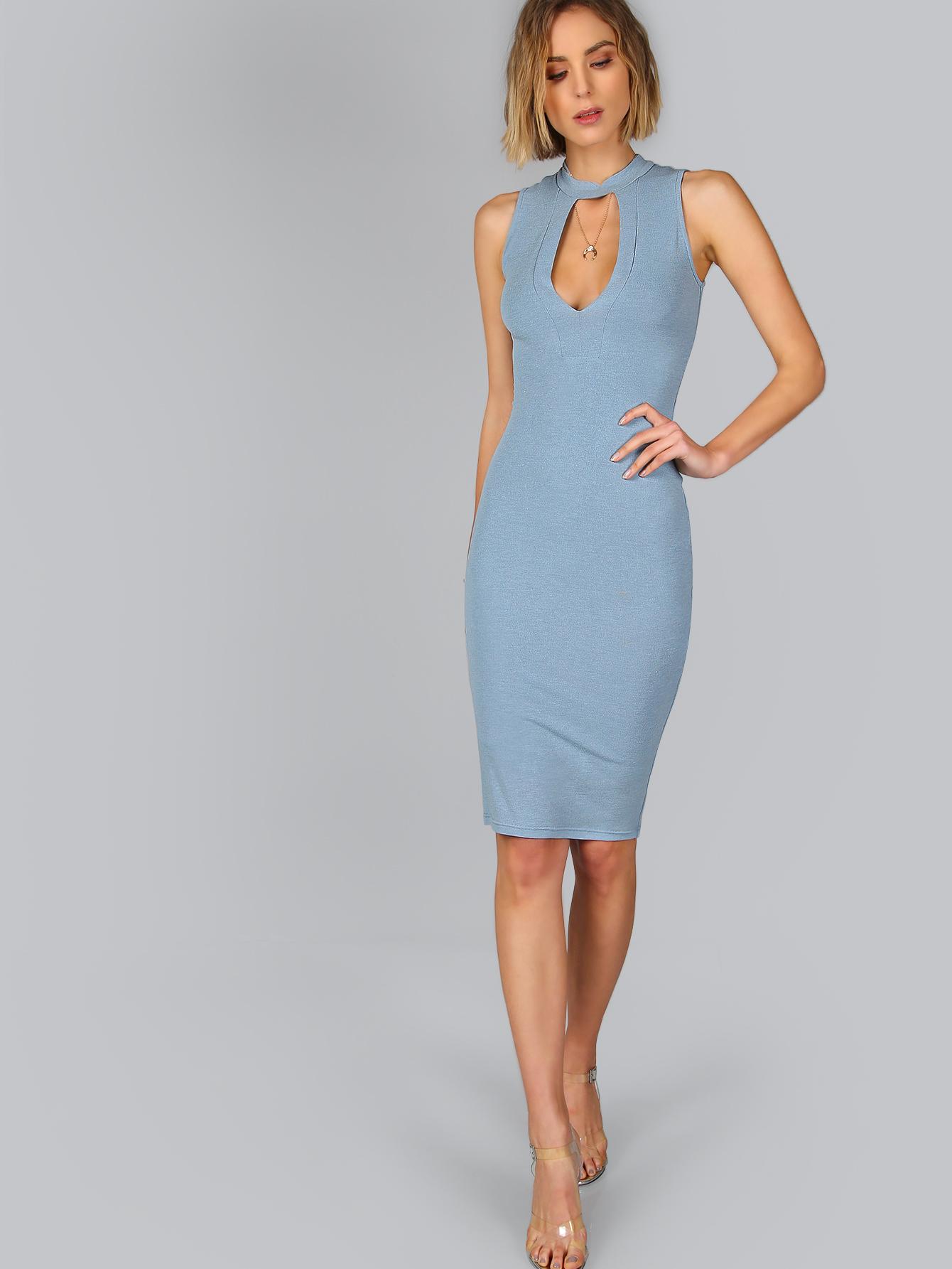 платье карандаш голубое