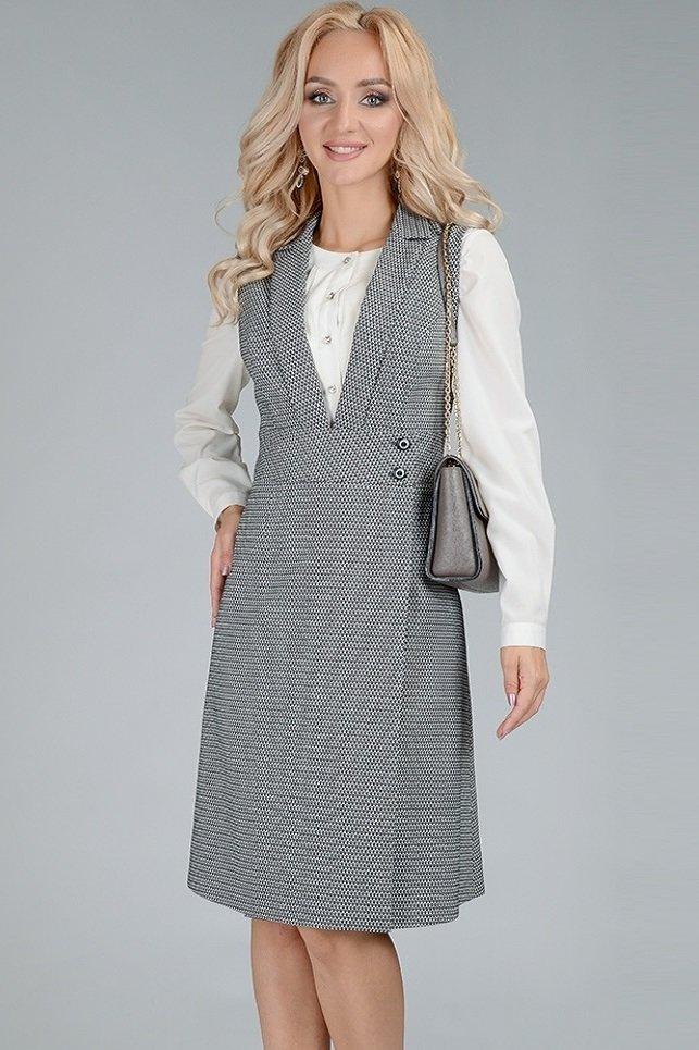 Офисное деловое платье-сарафан