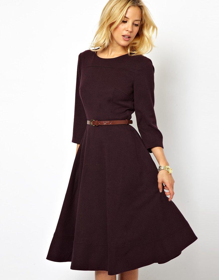офисное платье с расклешенной юбкой