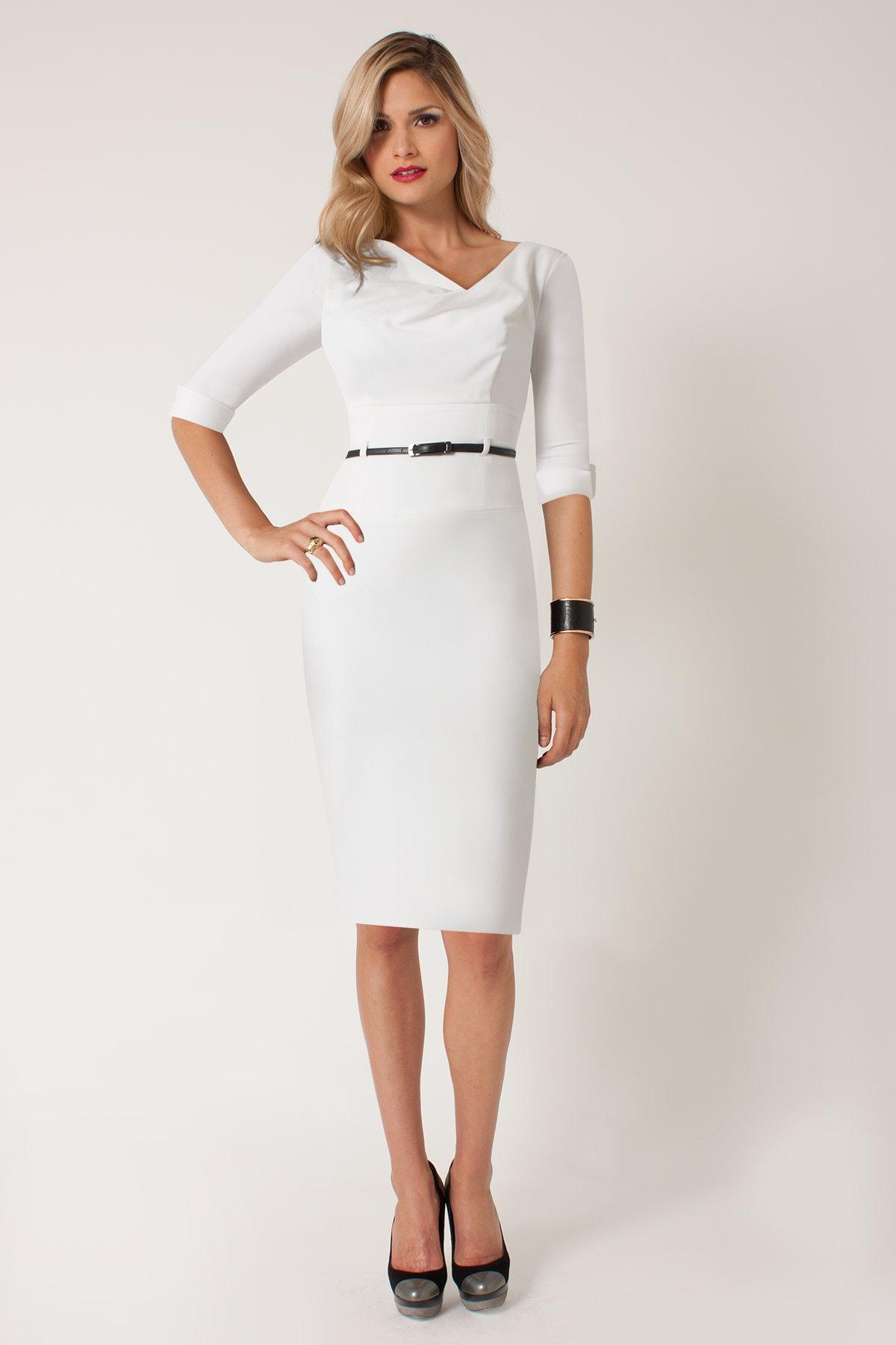 офисное платье белое