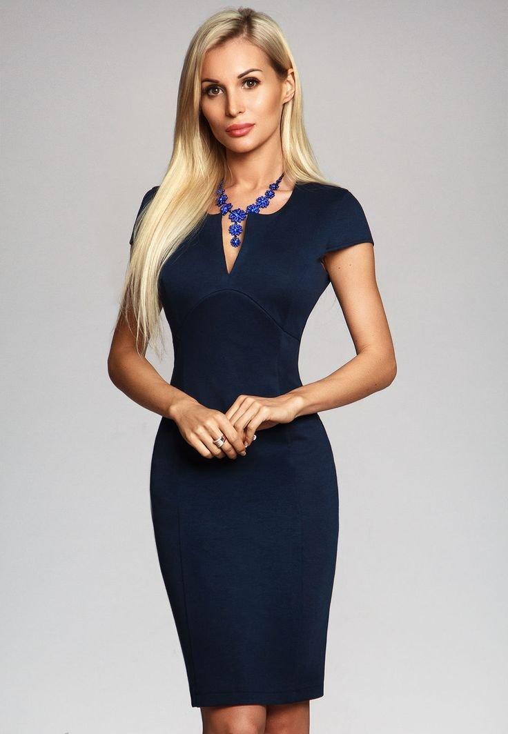 офисное платье синее