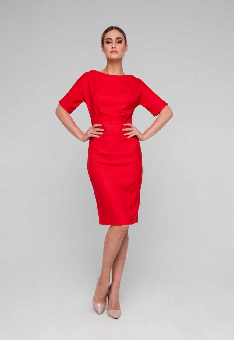 офисное платье красное