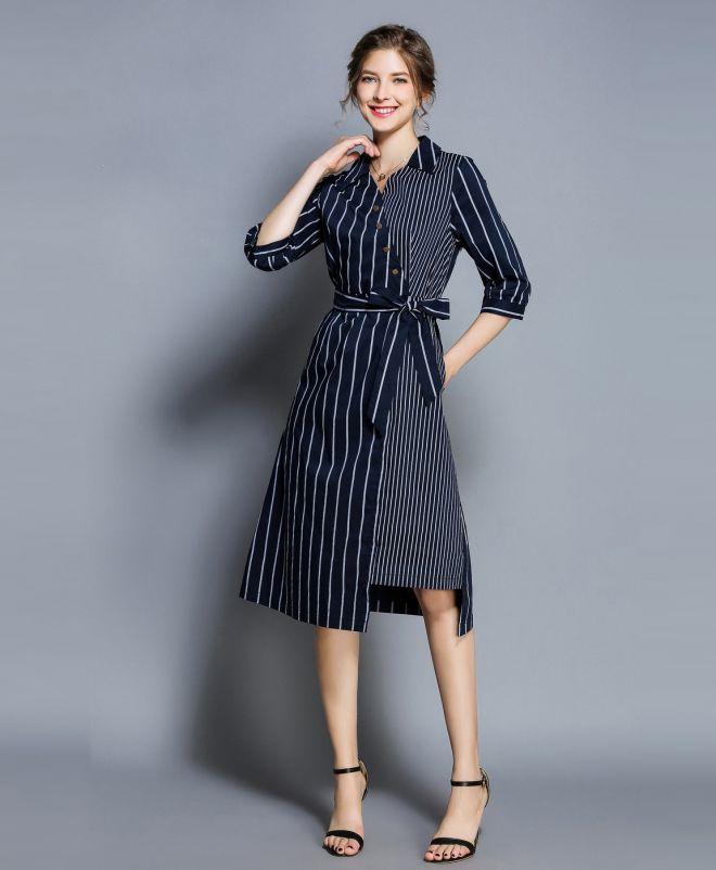 офисное платье в полоску