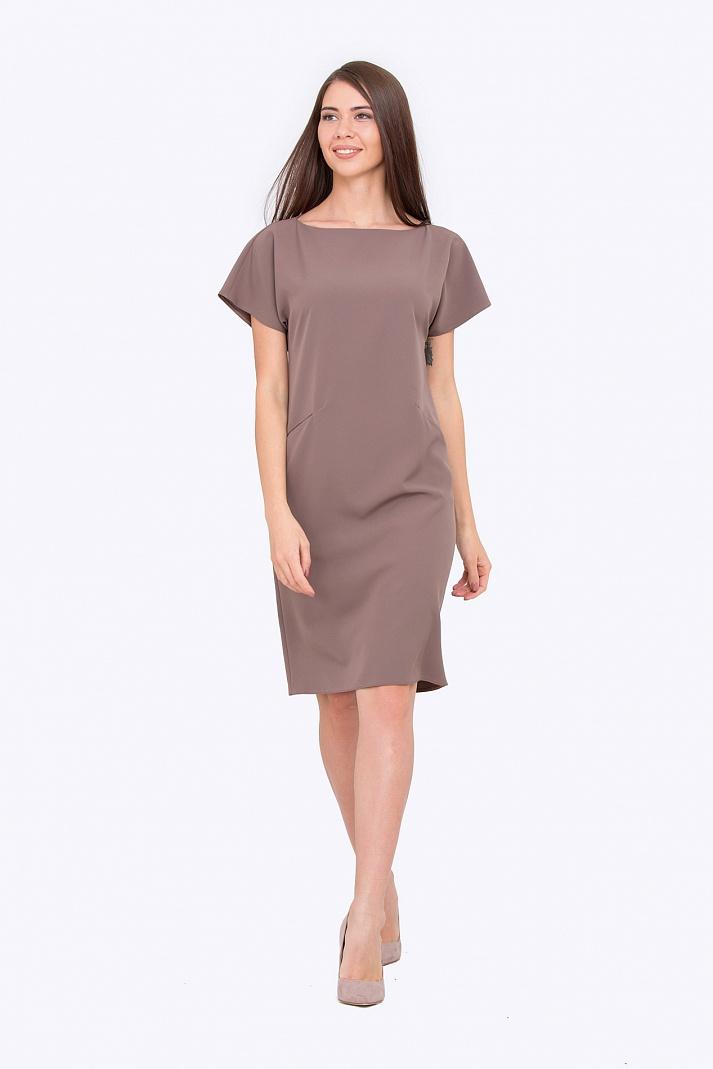 Платье прямого силуэта с цельнокроеным рукавом