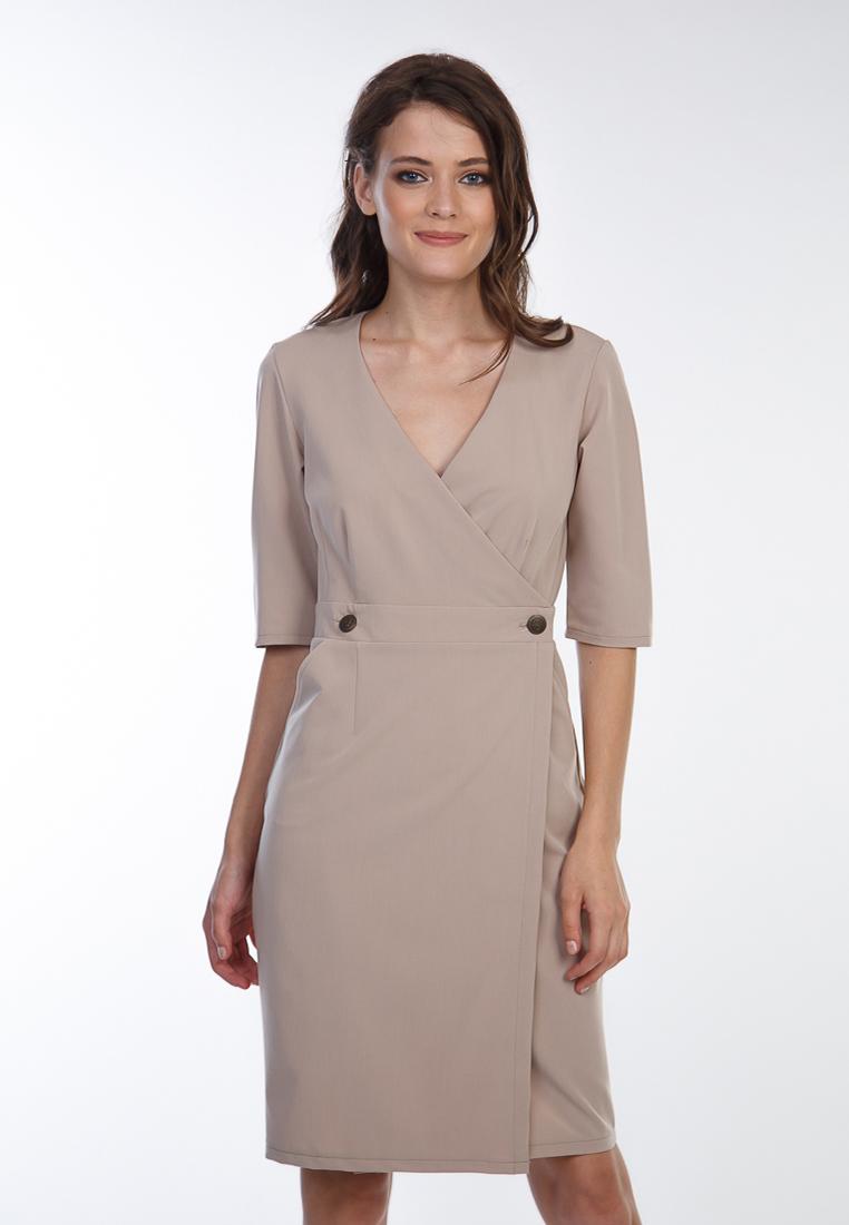Платье прямого силуэта с запахом фото