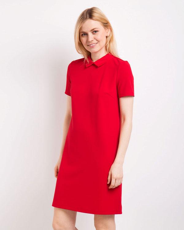 платье прямого силуэта красное фото