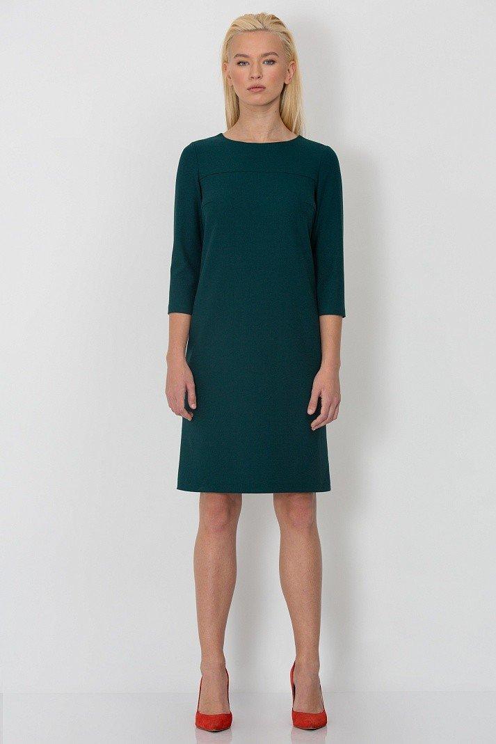 платье прямого силуэта зеленое фото